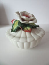 Vintage Fitz And Floyd Trinket Box With Flower, Bud and Leaf On To[
