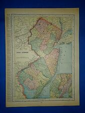 Vintage 1899 Atlas Map ~ NEW JERSEY ~ Old Antique & Authentic ~ Free S&H