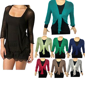 New Womens Tie Up Open Front Shrug Ladies Knitted Cropped Bolero beach summer