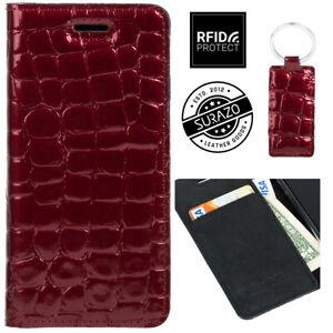 SURAZO® RFID Schutz SMART MAGNET Echtes Ledertasche Handy Hülle Wallet Case