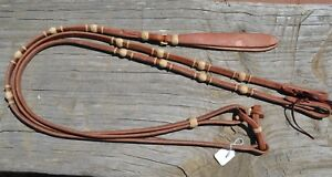 "1/2""Jose Ortiz Flat Harness Leather Romel Reins 4 Braided Natural Rawhide Knots"