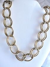 """Estate Signed Napier Large Double Link Necklace Gold Tone 30"""" Very Nice Wide"""