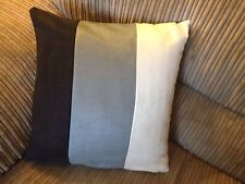 "4 22"" x 22"" Inch Black Grey Cream Faux Suede Cushion covers."