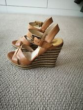 MICHAEL KORS. TAN LEATHER WEDGES. SIZE, UK.3. IT.36.