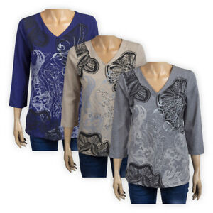 Womens Ladies V-Neck Floral Jersey Top 3/4 Sleeve Graphic Cotton Casual Blouse