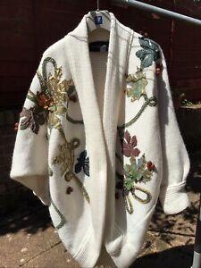 Vintage 1980's Crochetta Designer Embellished Cardigan Coat