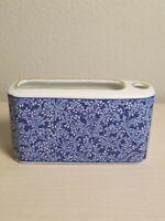 Vintage Neiman Marcus Desk Caddy Pencil Holder Blue Floral Porcelain