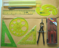 NOS Individual student drafting set triangles compass  French curve & pencil