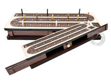 Continuous Cribbage Board Inlaid 4 Tracks Maple/Rosewood - Sliding Lids & Drawer