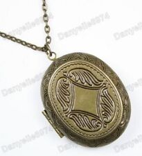 "30"" Long Vintage Brass Antique Gold Big Locket Necklace"