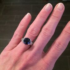 Vintage 4ct. Blue Sapphire & Diamond Ring set in Platinum.  Perfectly elegant!