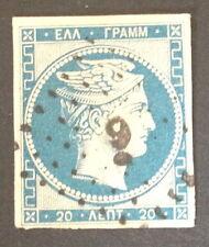 Timbre Grece, n°4, 20 lepta bleu, Obl, TBC, cote 85e.