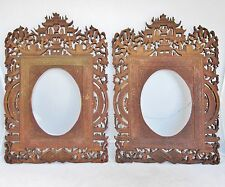 """13.1"""" Pair Antique Chinese Export Carved Wood Frames w/ Scholars, Trees & Pagoda"""