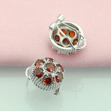 Sterling silver Garnet Stud Earrings Dipped 925 Cluster earring Red Large round