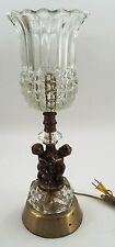 1960s Hollywood Regency Florentine Cherubs Gilt Metal Pressed Glass Touch Lamp