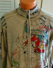 Men's Ed Hardy full zip Sweater size Medium Wool Nylon Beige