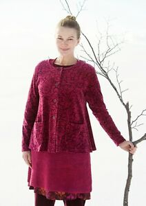 GUDRUN SJODEN Velour Floral Cardigan Jacket Size S Berry Lagenlook Layering