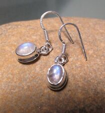 Sterling silver everyday cabochon rainbow moonstone HOOK earrings.