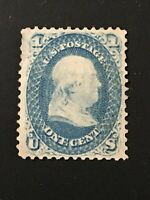 1868 US 1 cent Benjamin Franklin Stamp, NO Grill, NH, Never Used, Not Stamped