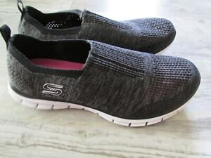 SKECHERS AIR COOLED MEMORY FOAM SLIP ON GRAY SHOES WOMENS 9