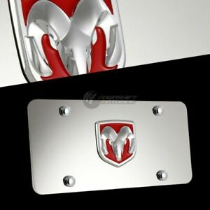 DODGE RAM Logo Red Front Mirror Stainless Steel License Plate Frame 3D with Caps