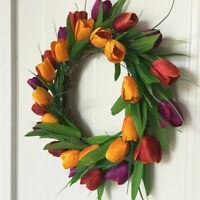 Lifelike Tulip Spring Wreath Hanging Garland Wedding Home Door Wall Decor