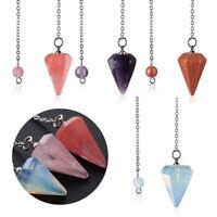 Crystal Gemstone Quartz Pendulum Healing Dowsing Reiki Chakra Pendant Chain