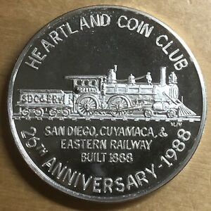 1988 Heartland Coin Club Silver Medal; Cuyamaca Railway; El Cajon (#x1034)