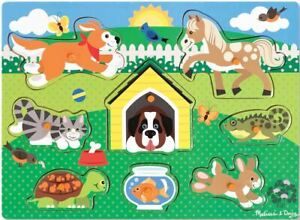 Melissa & Doug PETS PUZZLE - 8 PIECES Wooden Peg Puzzle Animal Baby/Child BN