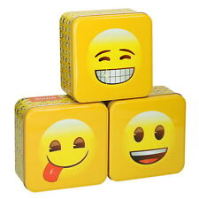 Square Kitchen Cake Biscuit Storage Tin Set Of 3 Novelty Emoji Storage Smiley