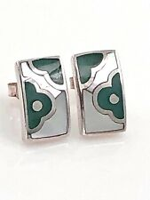 Mother of Pearl & Glass Sterling Silver Petite Abstract Floral Post Earrings