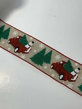 """5 Yds Of 2 1/2"""" Wired Christmas Faux Burlap Ribbon Vintage Red Truck & Snowman"""