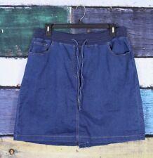 Woman Within Petites 20W 20WP Dark Wash Stretch Comfort Knit Denim Jean Skirt