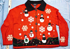 Ugly Christmas Sweater Cardigan Snowmen Snowflakes Red Black White Size XL Segue