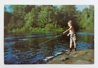 Ontario ON Canada The Angler Boy Fishing in Ontario River Postcard Unposted
