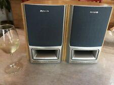 Vintage AIWA SX-M55 Bi-Amp Bookshelf Speakers RCA Plug & RAW-Wire 6 Ohms