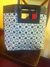 Banana Republic Patent Leather Black & Off White Large Clutch Handbag  **NWT**