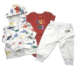 Childrens Place Infant 3-6M Dinosaur 3pc Jogger Set Zip-up Hoodie