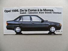 Petit catalogue / brochure OPEL 1986 de la Corsa à la Monza