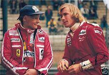 James Hunt & Niki Lauda - Ferrari Autograph Signed PP Photo Poster