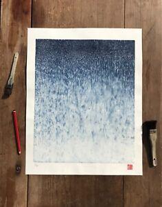 Rain Japanese woodblock print, blue artwork, wall art, abstract, contemporary