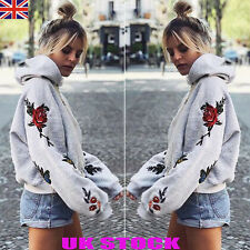 UK Women Floral Hooded Sweatshirt Tops Ladies Loose Hoodies Blouses Jumpers 6-18