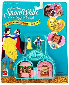"Disney Snow White & 7 Dwarfs ""Once Upon A Time Locket Necklace Playset"" Mattel"