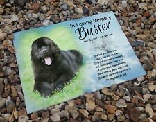 Personalised headstone grave ceramic tile, Newfoundland pet dog or any breed