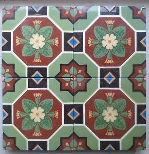 4 Minton & Hollins Encaustic Arts & Crafts Style Floor Tiles
