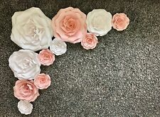 11 Pieces Giant Large Paper Flowers Backdrop Flowerwall Wall Decor White Pink