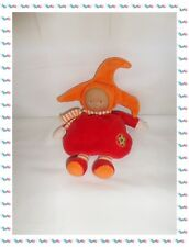 ♣ - Doudou Poupée Lutin Grenadine Rouge Orange Chapeau Etoile Grelot  Corolle