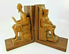 """Vintage Hand Carved Wood Book ends Don Quixote Sancho Panza, 6 1/2"""" Tall"""