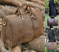 Men Brown Genuine Leather Cowhide Travel Luggage Duffle Gym Bags Suitcase Tote