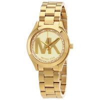 Michael Kors Mini Slim Runway Ladies Gold Tone Watch MK-3477
